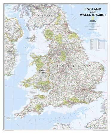 National Geographic - England and Wales Classic Map Laminated Poster by National Geographic