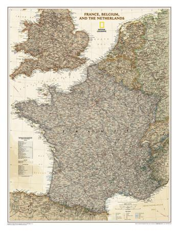 National Geographic - France, Belgium, and The Netherlands Executive Map Laminated Poster