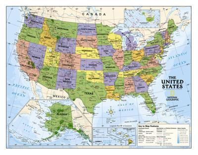 National Geographic - Kids Political USA Education Map (Grades 4-12) Giant Laminated Poster by National Geographic