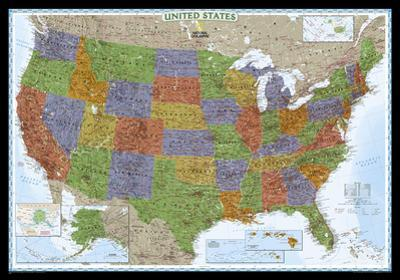 National Geographic - United States Decorator Map Laminated Poster