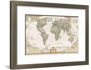 World maps framed posters artwork for sale posters and prints at national geographic world executive map laminated poster by national geographic gumiabroncs Image collections