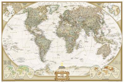 National Geographic - World Executive, Poster Size Map Laminated Poster by National Geographic