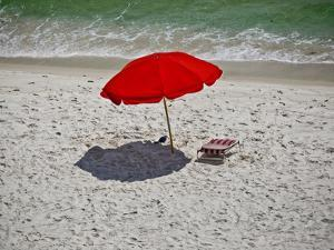 A Red Umbrella on the Beach at Gulf Shores, Alabama by National Geographic Photographer