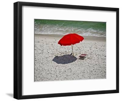 A Red Umbrella on the Beach at Gulf Shores, Alabama