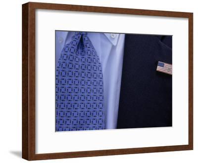 Tie and Lapel Pin on a Secret Service Agent Guarding President Bush