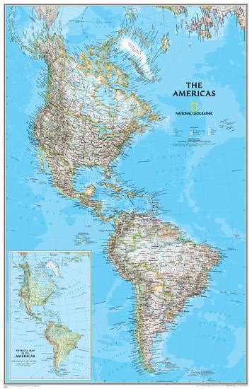 National Geographic - The Americas Clic Map Laminated Poster Laminated on