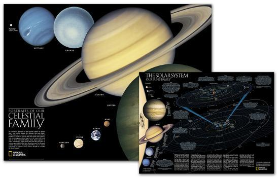 National Geographic - The Solar System Map, Two-Sided Map Laminated ...