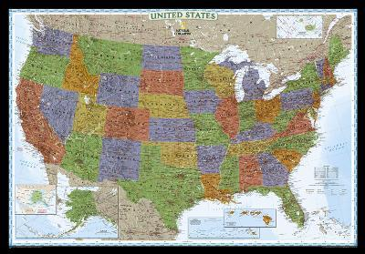 National Geographic - United States Decorator Map, Enlarged & Laminated Poster-National Geographic-Laminated Poster