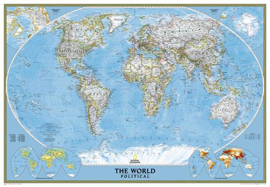 National Geographic World Classic Map Enlarged Laminated Poster