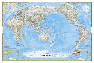 National Geographic - World Classic, Pacific Centered Map, Enlarged & Laminated Poster-National Geographic-Laminated Poster