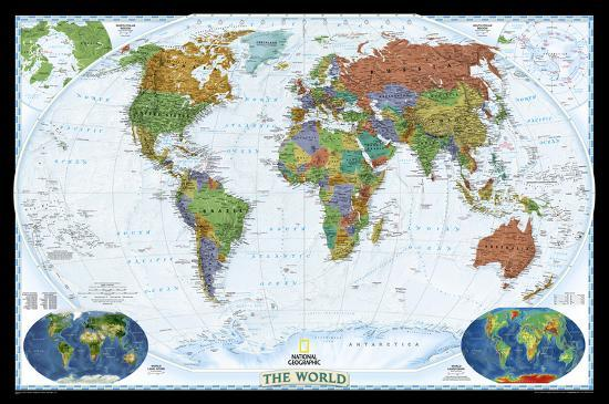 Geographic Map Of World.National Geographic World Decorator Map Laminated Poster Laminated