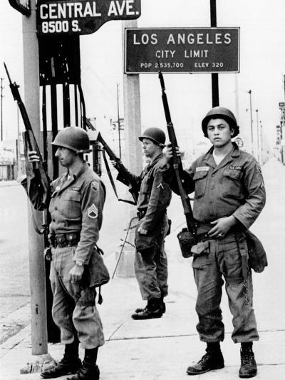 National Guardsmen at a Los Angeles City Limits--Photo