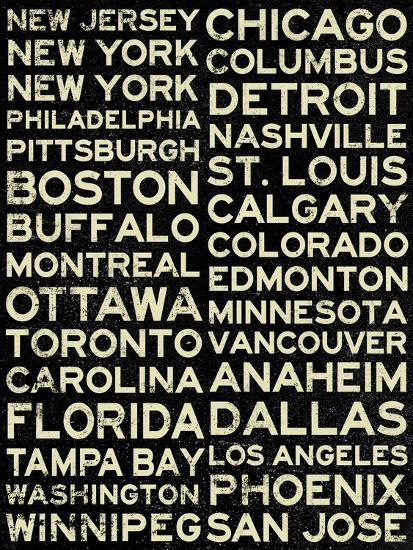 National Hockey League Cities Vintage Style Art Print By Art Com