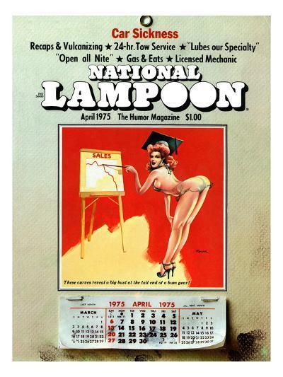 National Lampoon, April 1975 - Car Sickness, the Pin-Up Calendar--Art Print