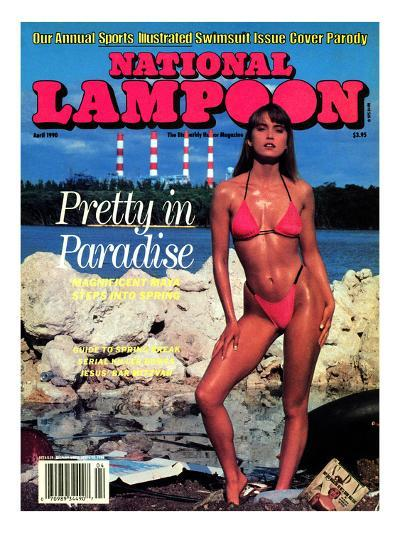 National Lampoon, April 1990 - Pretty in Paradise--Art Print