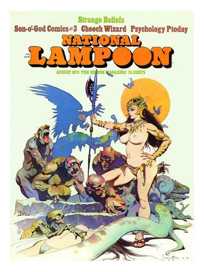 National Lampoon, August 1973 - Strange Beliefs,Sexy Warrior Woman--Art Print