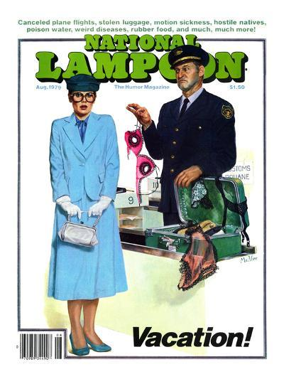 National Lampoon, August 1979 - Vacation! Security finds Lingerie in her Suitcase--Art Print