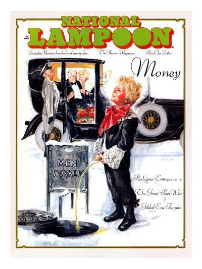 National Lampoon, December 1975 - Money, Peeing on the Men Working Below--Art Print