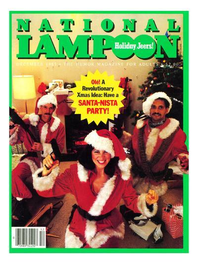 National Lampoon, December 1983 - Holiday Jeers! Have a Santa-Nista Party--Art Print