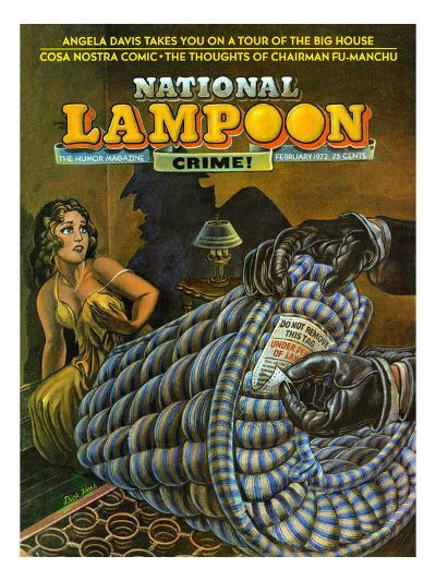 National Lampoon, February 1972 - Crime! Don Not Remove Under Penalty of Law--Art Print