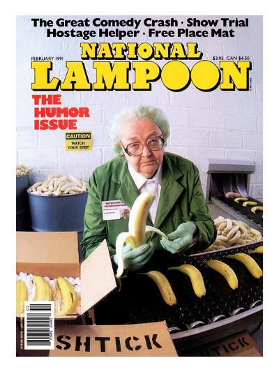 National Lampoon, February 1991 - Great Comedy, Old Woman with Bananas and Boxes of Shtick--Art Print