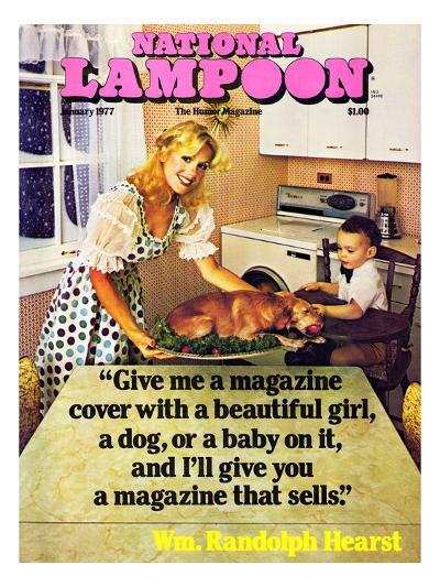 National Lampoon, January 1977 - Beautiful Girl, a Dog, and a Baby--Art Print