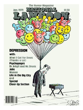 National Lampoon, January 1979 - Depression: Hanged with Happy Baloons