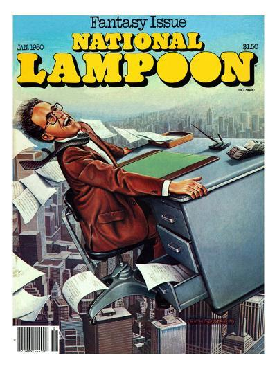 National Lampoon, January 1980 - Fantasy Issue, Desk Flying--Art Print