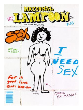 National Lampoon, July 1977 - Bathroom Wall, I need Sex