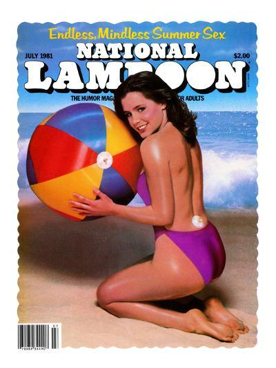 National Lampoon, July 1981 - Endless, Mindless Summer Sex with a Beach Babe on the Cover--Art Print