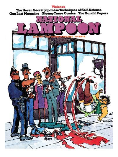 National Lampoon, June 1973 - Violence, Slipping in Blood--Art Print