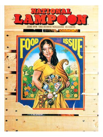 National Lampoon, June 1974 - Woman wih Cornucopia of Food Issue