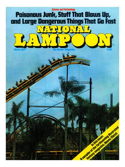 National Lampoon, March 1977 - Rollercoaster: Large Dangerous Things That Go Fast--Art Print
