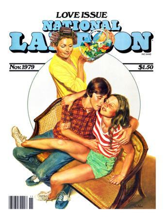 National Lampoon, November 1979 - Love Issue, Mom Catches Kids Getting Fresh on the Couch