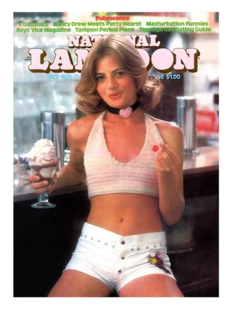National Lampoon, October 1974 - Pubescence, Girl with Sundae and Cherry and Little White Shorts