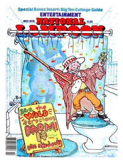 National Lampoon, October 1978 - Entertainment, Kid Shows Wild Ferocious Mom in Shower--Art Print