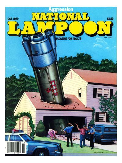 National Lampoon, October 1980 - Agression Rocket Missile Lands in Garage--Art Print