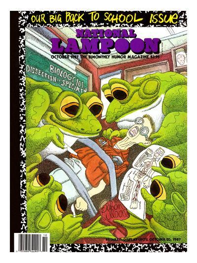 National Lampoon, October 1987 - Back to School Issue, Frogs Dissect Student--Art Print
