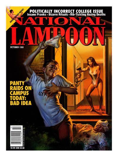 National Lampoon, October 1991 - Panty Raids on Campus Today: Bad Idea--Art Print