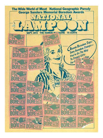National Lampoon, September 1972 - Bonnie Boredom Says: Save Boredom Stamps--Art Print
