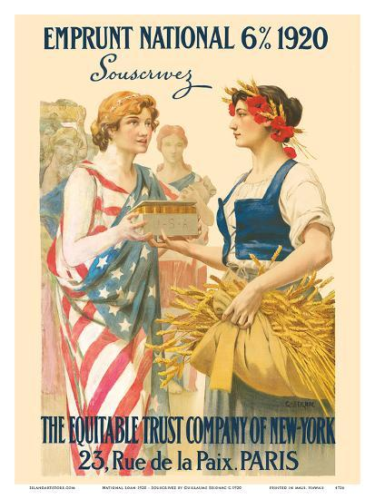 National Loan 1920 - Subscribe (Souscrivez) - The Equitable Trust Company of New York, Paris-Guillaume Seignac-Art Print