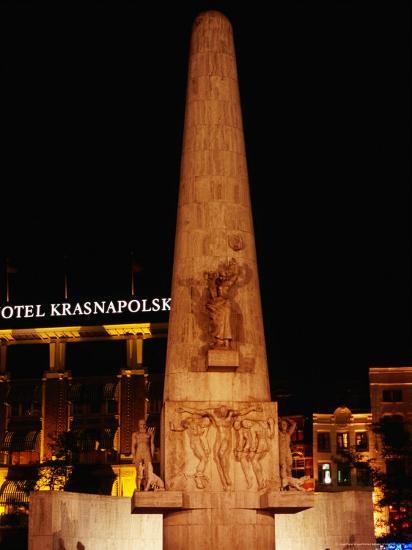 National Monument at Dam Square, Amsterdam, Netherlands-Richard Nebesky-Photographic Print