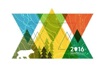National Park Service Centennial - Triangles-Lantern Press-Art Print