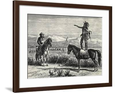 Native American Chief Blocking Passage of Convoy, 1874--Framed Giclee Print