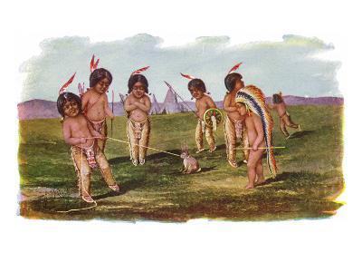Native American Children with a Rabbit-Lantern Press-Art Print