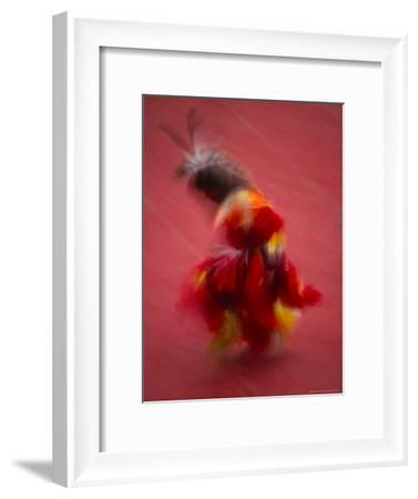 Native American Dancer in Traditional Costume Dancing at a Powwow-Michael Melford-Framed Photographic Print