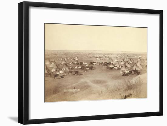 Native American Encampment - Lakota Indians-John C.H. Grabill-Framed Art Print