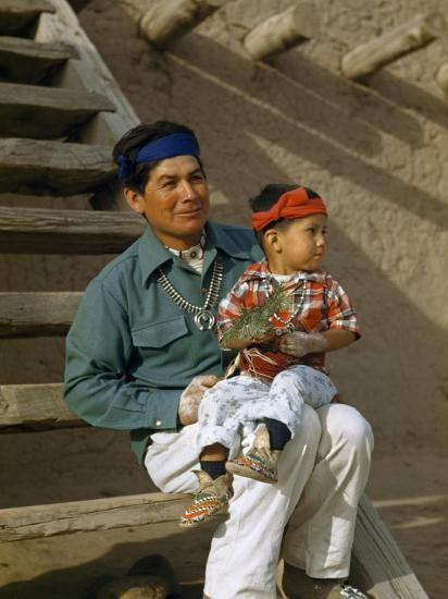 Native American Father and Son Dressed for a Dance Sit Together-Justin Locke-Photographic Print