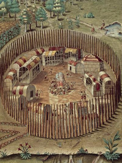 Native American Fortified Village in Virginia, 1585-1588--Giclee Print