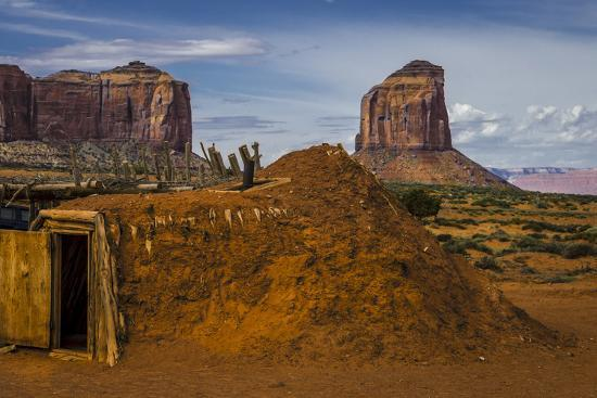 Native American Hogan's and Mitchell Butte in Monument Valley Tribal Park of the Navajo Nation, Az-Jerry Ginsberg-Photographic Print